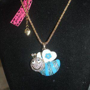 Nwt Blue Enamel & Aqua, Clear Crystal Bee Necklace